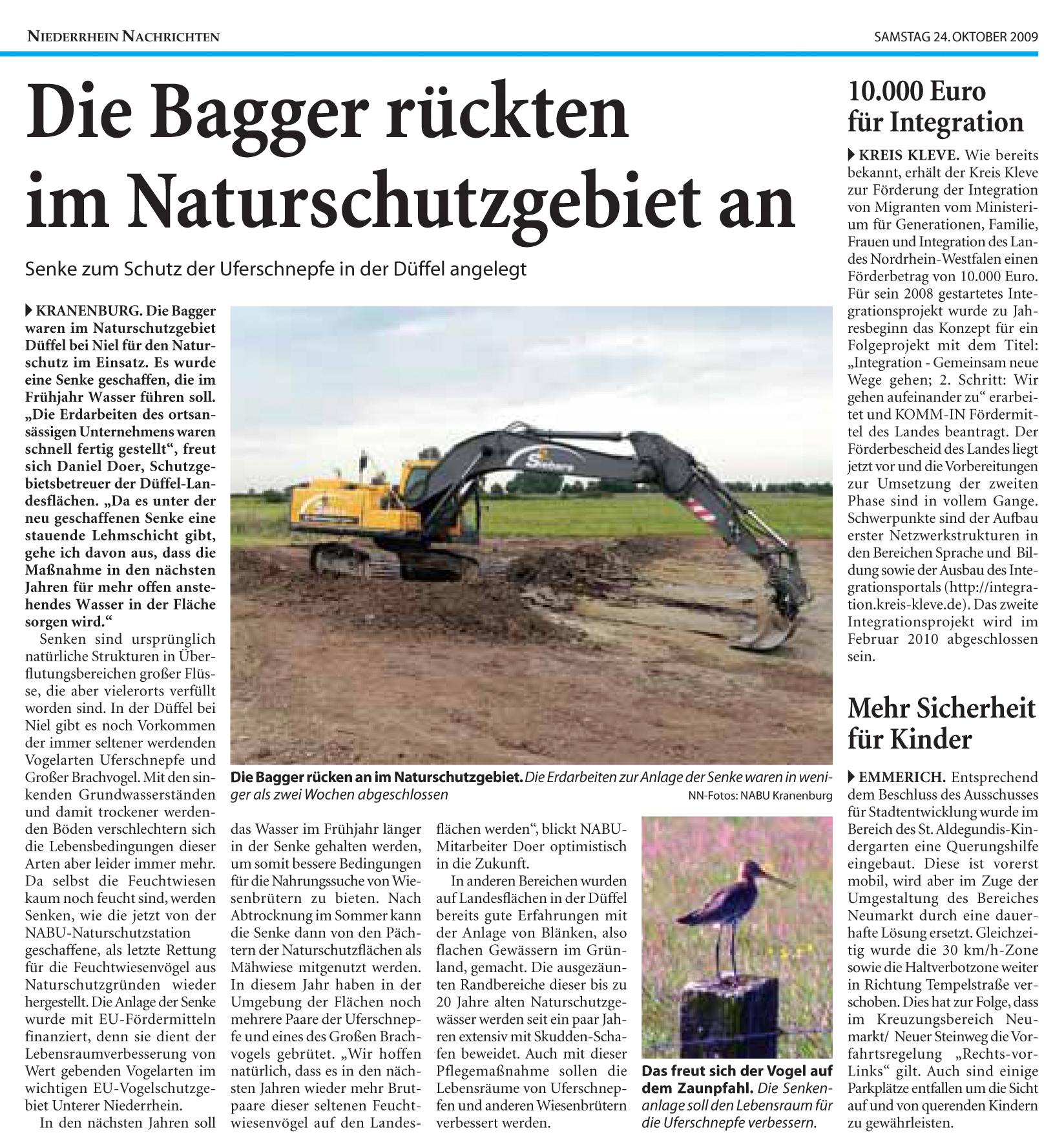 25. Oktober 2009: Anlage einer Senke im Naturschutzgebiet Kranenburg