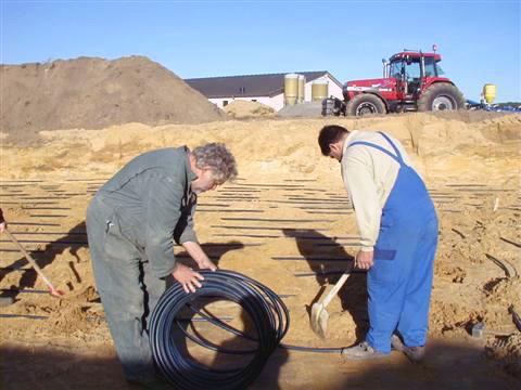 Aushubarbeiten für Erdwärmeleitungen in Kranenburg